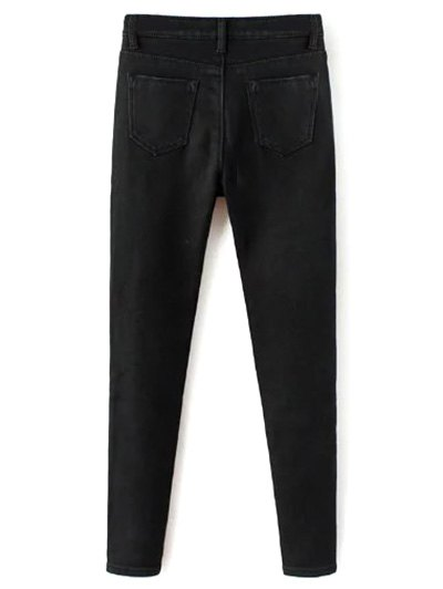 Super Elastic Wool Blend Pencil Jeans - BLACK XL Mobile