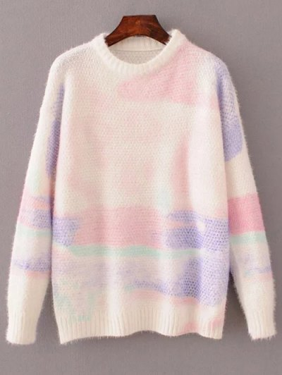 Oversized Space Dye Sweater - WHITE ONE SIZE Mobile