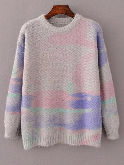 Oversized Space Dye Sweater - GRAY ONE SIZE Mobile