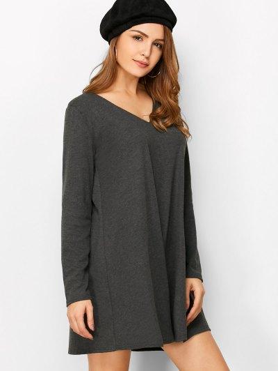 Long Sleeve Smock Mini Dress - DEEP GRAY L Mobile