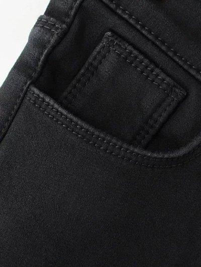 Super Elastic Wool Blend Pencil Jeans - BLACK M Mobile