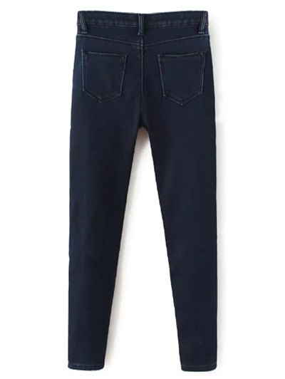 Super Elastic Wool Blend Pencil Jeans - DEEP BLUE XL Mobile