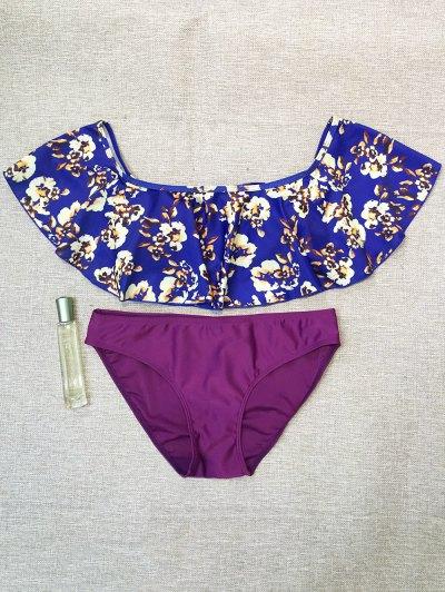 Off The Shoulder Ruffles Bikini - MULTICOLOR L Mobile