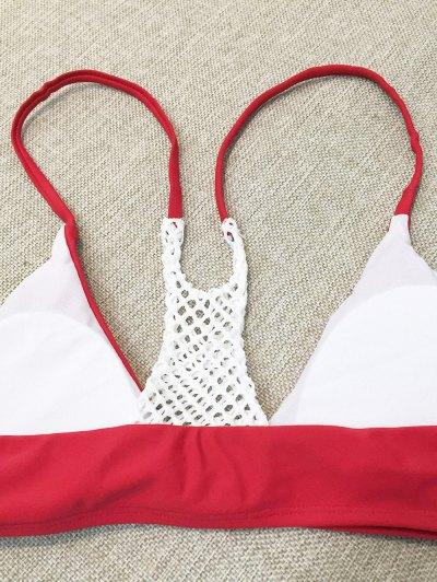 Mesh Panel High Leg Bikini - RED S Mobile
