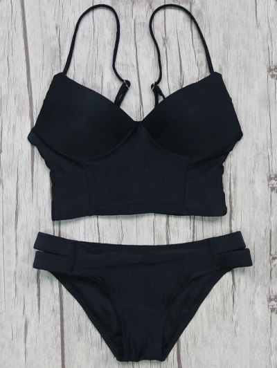 Long Line Bikini Top and Bottoms - BLACK L Mobile