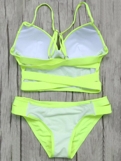 Long Line Bikini Top and Bottoms - NEON GREEN L Mobile