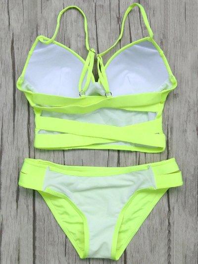 Long Line Bikini Top and Bottoms - NEON GREEN M Mobile