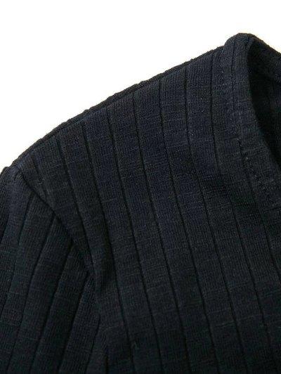 Skinny Ribbed Lace Up Bodysuit - BLACK M Mobile