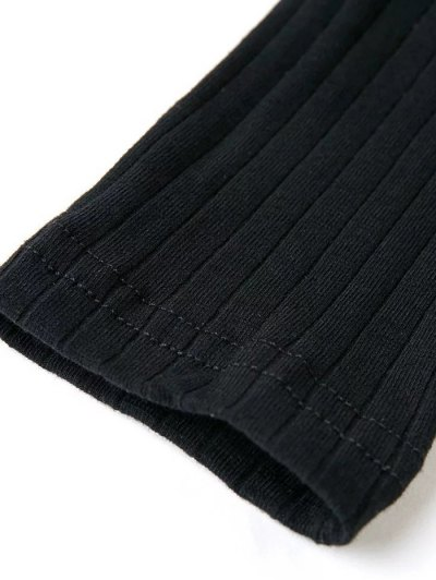 Skinny Ribbed Lace Up Bodysuit - BLACK S Mobile