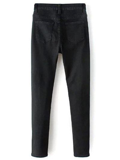 High Waisted Zip Fly Jeans - BLACK L Mobile