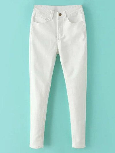 High Waisted Zip Fly Jeans - WHITE S Mobile