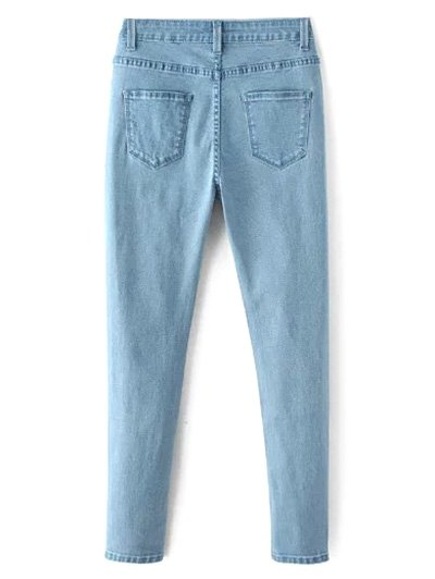 High Waisted Zip Fly Jeans - LIGHT BLUE L Mobile