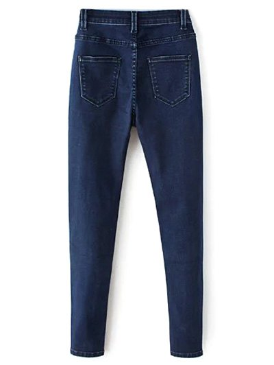 High Waisted Zip Fly Jeans - DEEP BLUE L Mobile