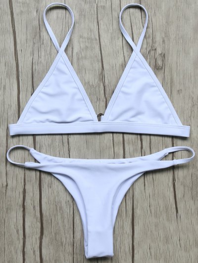 Unlined Plunge Bikini Top and Thong Bottoms - WHITE S Mobile