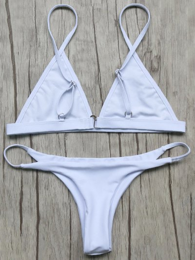 Unlined Plunge Bikini Top and Thong Bottoms - WHITE M Mobile