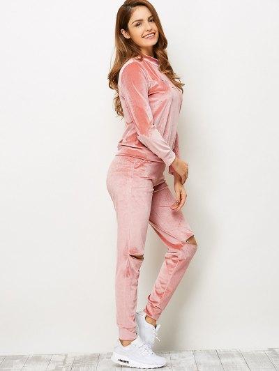 Zippers Velvet T-Shirt and Sports Pencil Pants - ORANGEPINK M Mobile