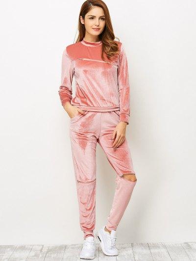 Zippers Velvet T-Shirt and Sports Pencil Pants - ORANGEPINK S Mobile