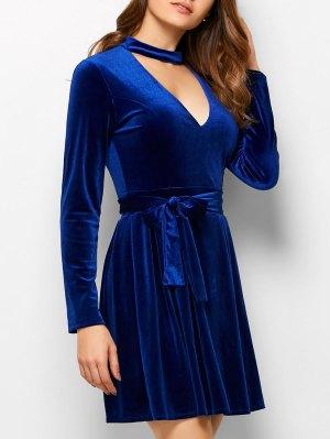 Velvet Choker Belted Mini Dress - Blue