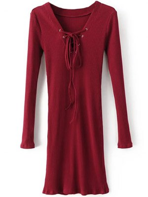 Long Sleeve Ribbed Lace Up Bodycon Dress - Burgundy