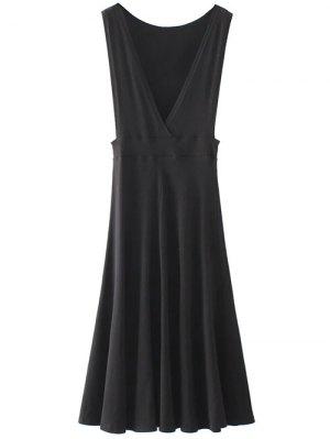 Midi Flared Tank Dress - Black
