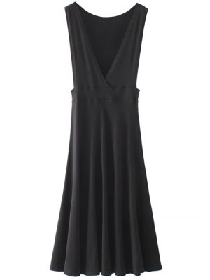 Midi Flared Tank Dress - Black