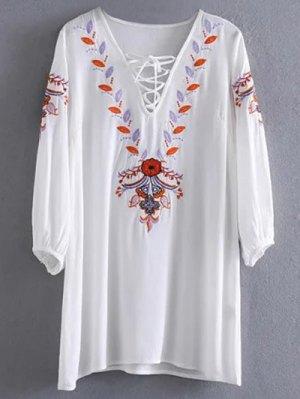 Embroidered Lace Up  Mini Tunic Dress - White