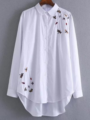 High Low Insects Embroidered Shirt - White