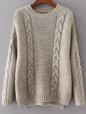 High Low Cable Knit Jumper Sweater - Gray