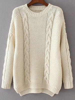 High Low Cable Knit Jumper Sweater - Off-white