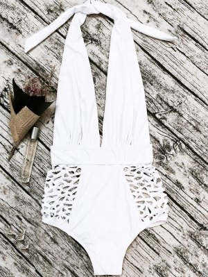 High Waisted Plunge Neck Hollow Out Tummy Control Swimsuit - White