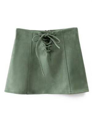 Faux Suede Lace Up Mini Skirt - Green
