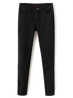 Super élastique Laine Blend Pencil Jeans - Noir