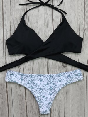 Wrap Bikini Top And Baroque Bottoms - White And Black