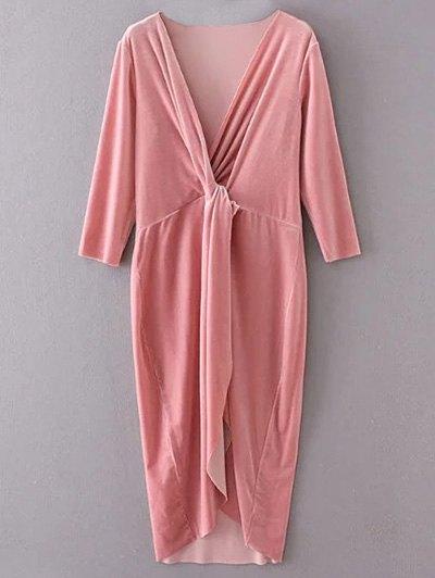 Velvet Asymmetric Midi Dress