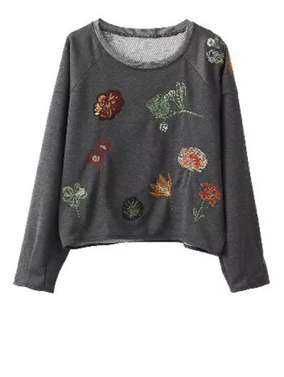 Floral Embroidered Boxy Pullover Sweatshirt