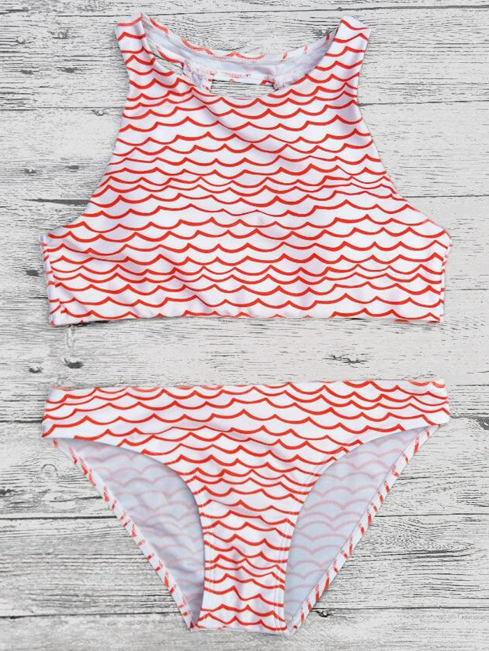Cropped Wavy Pattern Cut Out Bikini Set