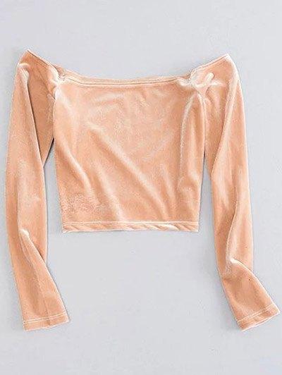 Long Sleeved Cropped Velvet Top