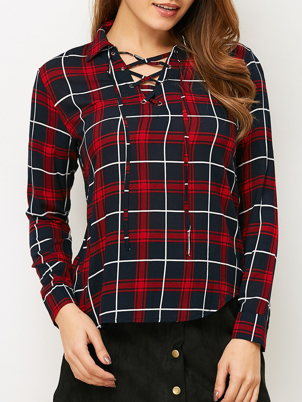 Lace-Up Checked Shirt