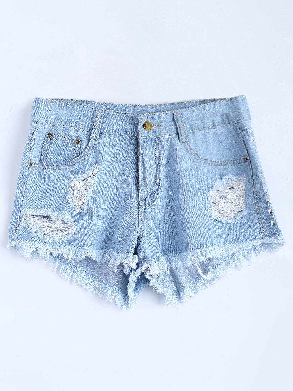 Light Wash Ripped Rivet Denim Shorts