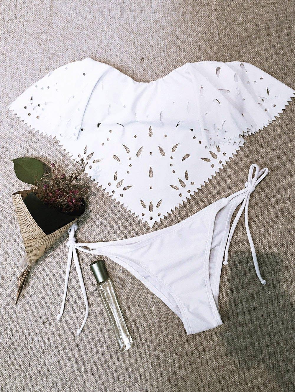 Strapless Cutwork String BikiniSwimwear<br><br><br>Size: L<br>Color: WHITE