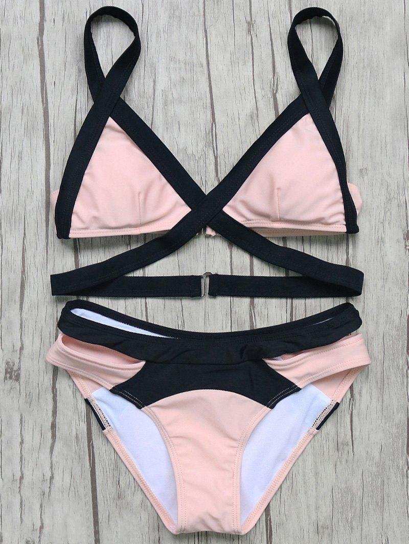 Bandage Color Block Bikini Set