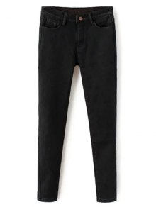 Super Elastic Wool Blend Pencil Jeans - Black 2xl