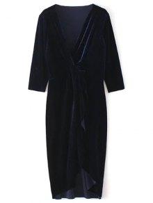 Asymmetric Velvet Midi Wrap Dress