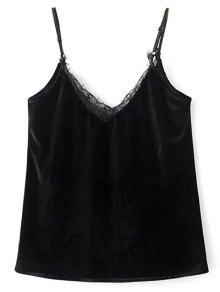 Buy Lace Panel Outerwear Tank Top M BLACK