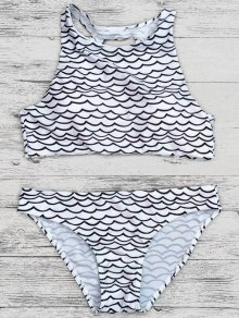 Cut Out Wavy Print Cropped Bikini Set - Black