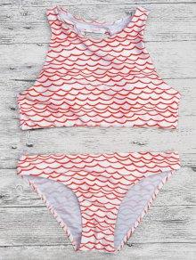 Cut Out Wavy Print Cropped Bikini Set - Red L