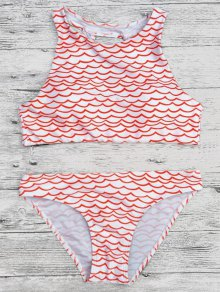 Cut Out Wavy Print Cropped Bikini Set