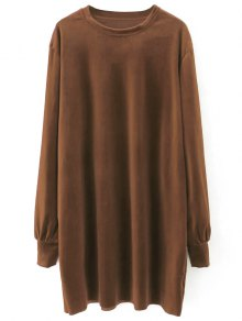 Velvet Tunic Dress - Brown L