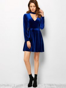 Velvet Choker Belted Mini Dress BLUE: Long Sleeve Dresses S | ZAFUL