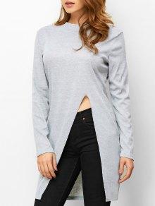 Buy High Neck Slit T-Shirt - LIGHT GRAY L
